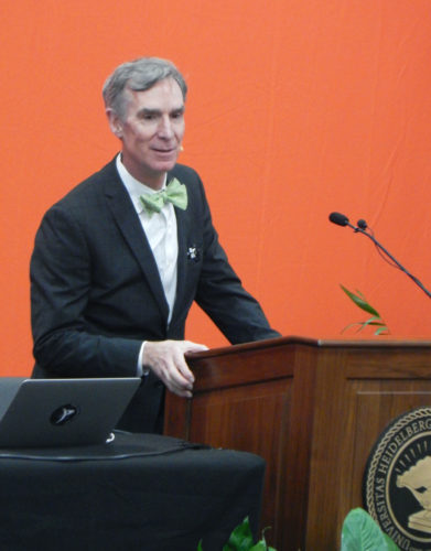 PHOTO BY NICOLE WALBY Scientist, engineer, comedian and author Bill Nye, speaks Wednesday at Heidelberg University as part of its HYPE program.