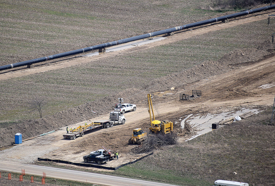 PHOTO BY JILL GOSCHE Crews work on the Rover Pipeline. The view is via a plane piloted by Tiffin Aire April 11.