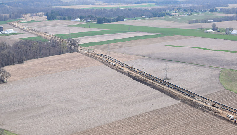 PHOTO BY JILL GOSCHE The Rover Pipeline is cutting through Seneca County's Bloom, Eden, Hopewell, Loudon and Seneca townships. The view is via a plane piloted by Tiffin Aire April 11.