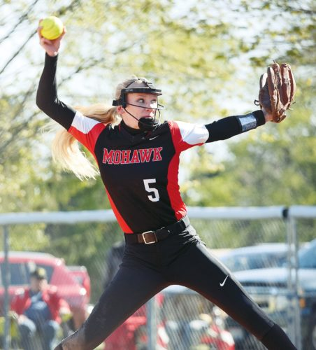 PHOTO BY JILL GOSCHE Mohawk's Hannah Jordan pitches during the Division IV sectional semifinal game against Buckeye Central in Sycamore Monday.