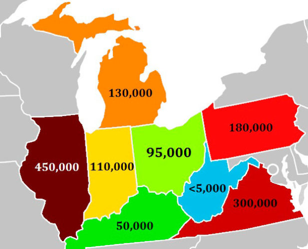 IMAGEBYSETHWEBER This map shows the estimated amount of illegal immigrants by state as of 2014. Accroding to data from The Pew Research Center, Illinois has the largest amount in the region, with an estimated 450,000 illegal immigrants, followed by Virginia with 300,000, Pennsylvania with 180,000, Michigan with 130,000, Indiana with 110,000, Ohio with 95,000, Kentucky with 50,000 and West Virginia with less than 5,000.