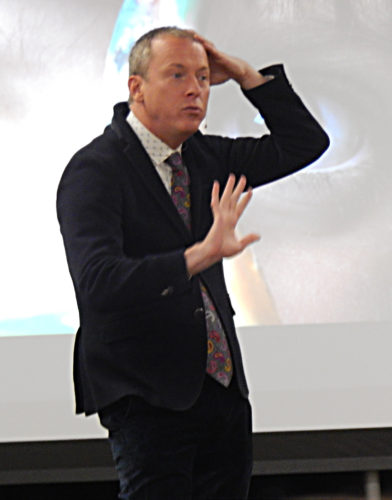 PHOTO BY NICOLE WALBY Ron Clark speaks to educators Monday during the Student Leadership & Empowerment Summit in the Marion Center at Tiffin University.