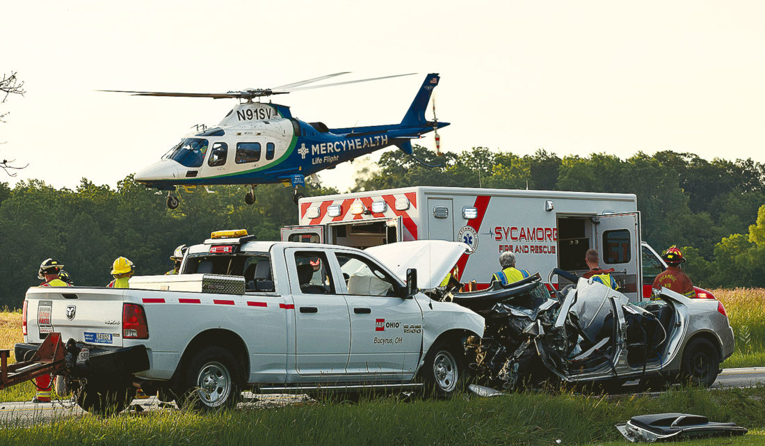 PHOTO BY JILL GOSCHE Life Flight leaves the scene of an accident on SR 100 Thursday morning.