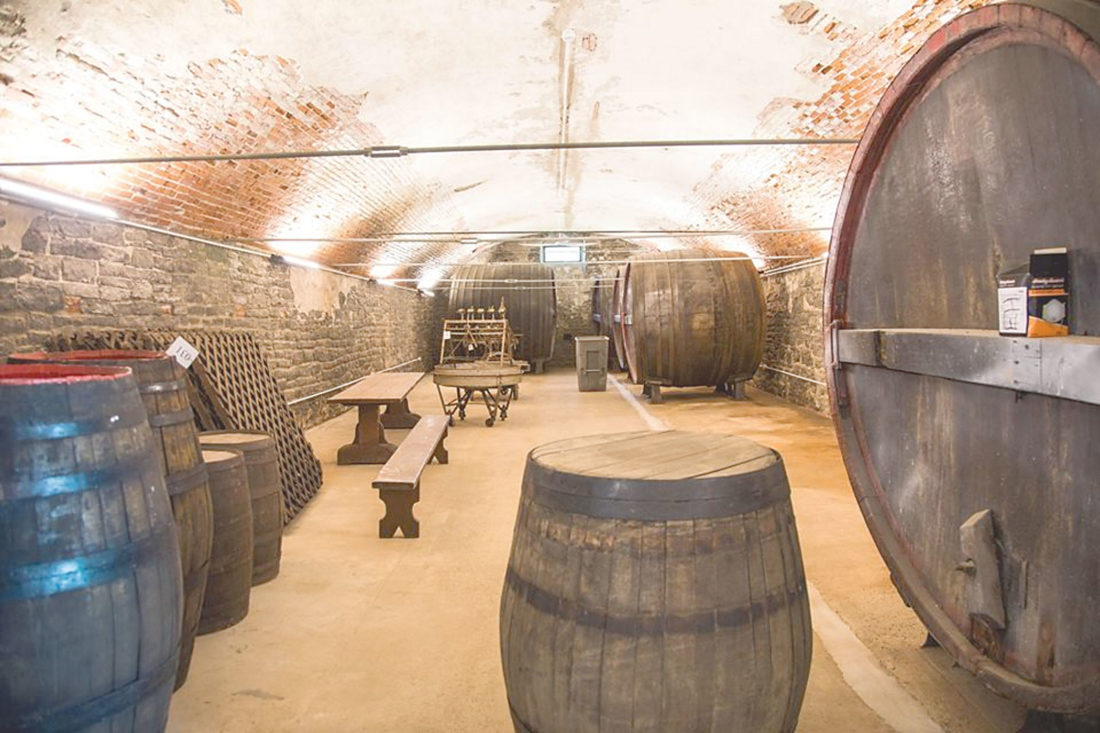 PHOTO SUBMITTED Wine barrels and other original pieces can be found in cellars.