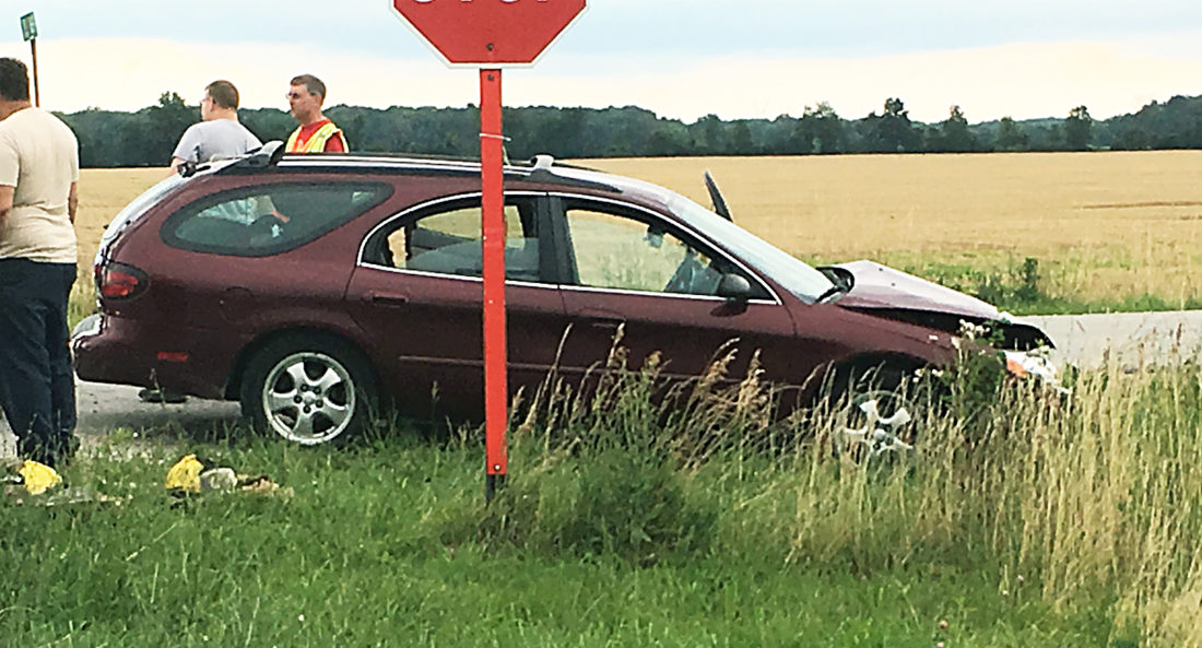 PHOTO BY JACOB GURNEY A 2005 Ford Taurus was involved in an accident on CR 38 Saturday evening. Six people were injured.