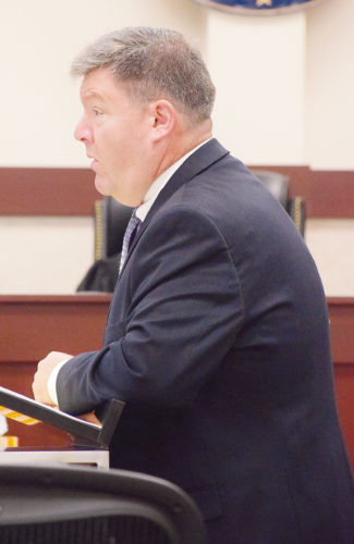PHOTO BY JILL GOSCHE Dean Henry, attorney for Jaron Burns, addresses the jury in Seneca County Common Pleas Court Judge Michael Kelbley's courtroom Tuesday morning.