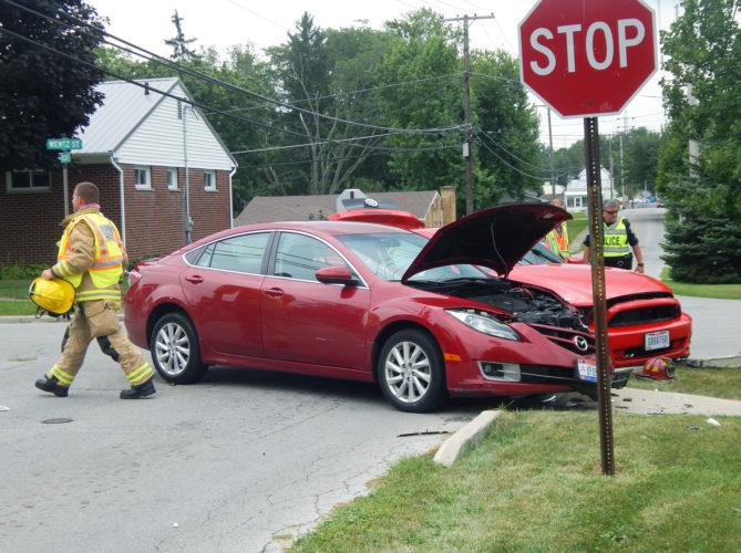 PHOTO BY JACOB GURNEY Two vehicles were involved in an accident at Nelson and Wentz streets Thursday afternoon.