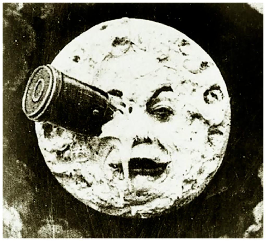 L'allunaggio come visto dalla mente futuristica di  George Méliès, nel suo fulm Viaggio Nella Luna