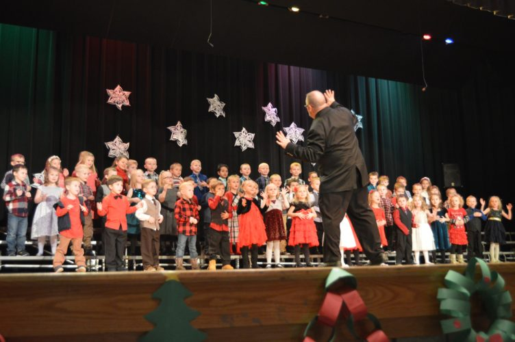 Haley Gustafson   Daily Press The Readiness Kindergarten classes of W.C Cameron Elementary School in Gladstone perform their Christmas program Dec. 8 at the Gladstone High School auditorium. Other area schools are holding for their Christmas concerts next week as Christmas break for students approaches.