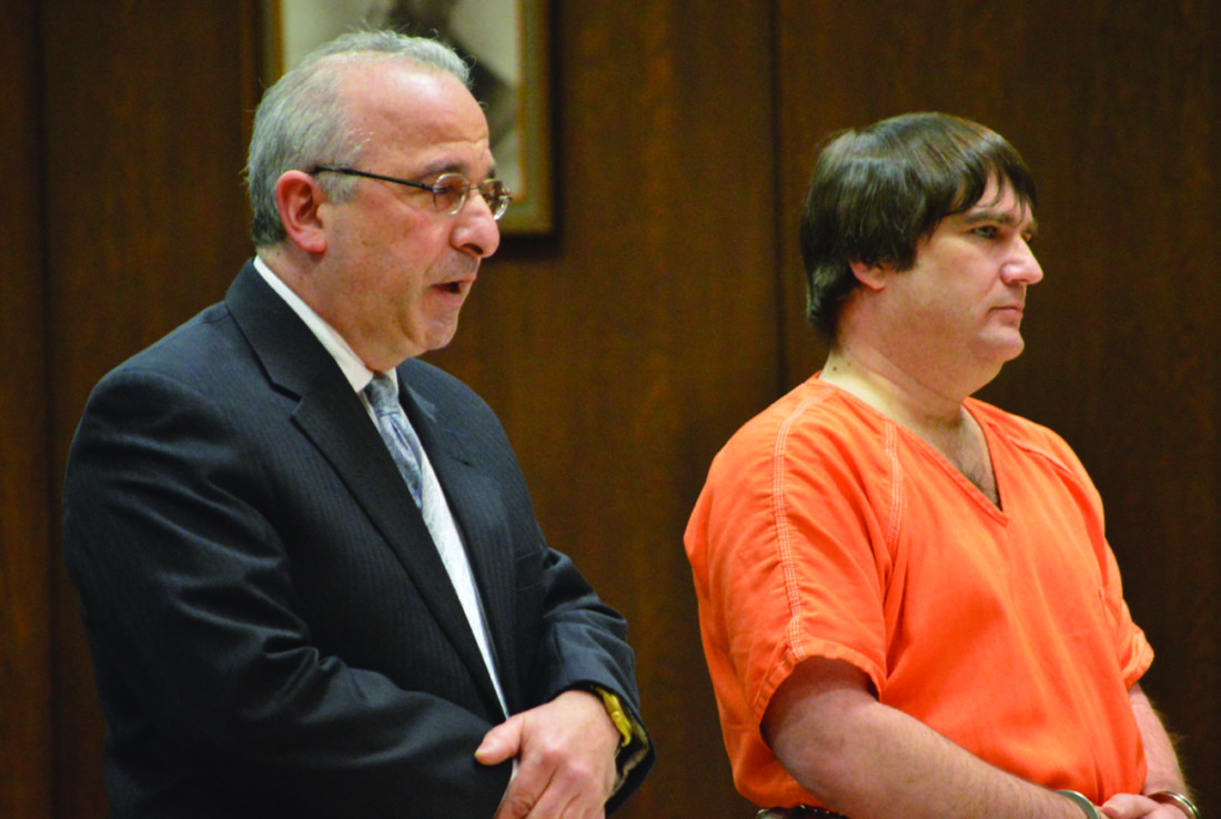 Ilsa Matthes   Daily Press Kenneth Daniel Brunke, right, stands with former attorney Michael Winnick. Brunke, who was cleared of the murders of three people in late 2015, was back in court in 2016 for hearings related to his alleged role as a cocaine dealer.