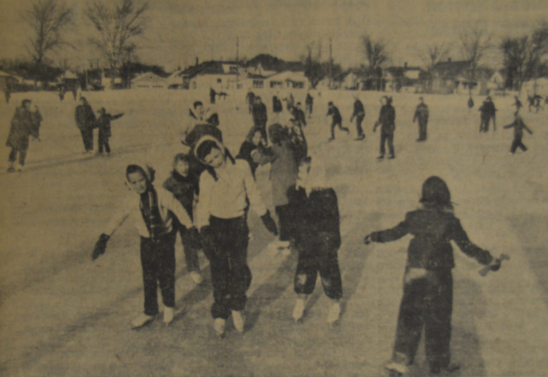 Daily Press photo Shown are local kids in 1957 enjoying the Royce Park rink, located at 19th Street and 7th Avenue South. The rink is created every year by the Escanaba City Recreation Department and available throughout the winter months for children and adults alike to skate on.