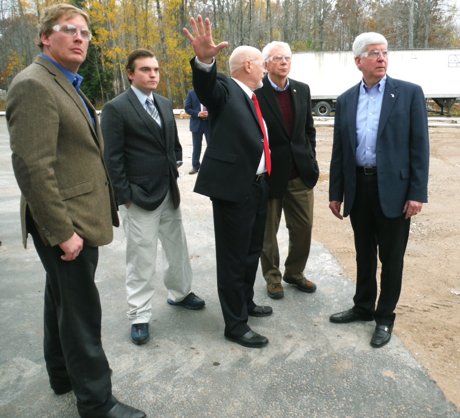 Jenny Lancour   Daily Press file photo Ed McBroom, at left, former state representative, tours Engineered Machined Products in Escanaba last fall with Gov. Rick Snyder, at right. Also pictured from left are State Rep. Beau LaFave, EMP vice president of engineering/manufacturing Mark Bader, and U.S. Congressman Jack Bergman. McBroom termed out of the Michigan House while LaFave and Bergman were newly elected to their seats this past November.