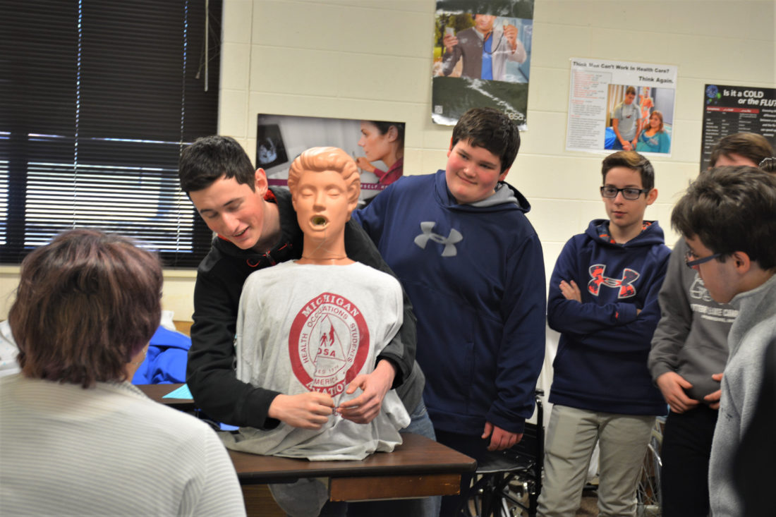 Courtesy photo Health Occupations instructor, Gisele Bingham, instructs student on life-saving technique.