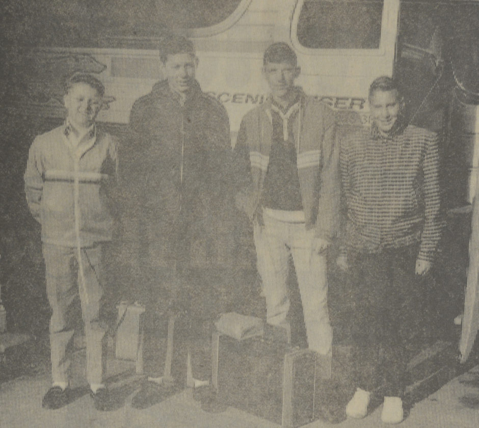Daily Press photo Newspaper boys are shown leaving Escanaba for winning an all expense paid, four day trip to Washington D.C. in 1966. The boys visited the White House, the FBI, Mt. Vernon, Arlington Cemetery and other points of interest as winners of the newspaper-magazine contest sponsored by the Escanaba Daily Press and Whitlock Co., of Chicago. Shown from left are Calvin Marcoe, Louis Jefferson, Gary Abrahamson, and Nicholas Denessen.