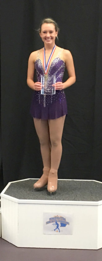 Courtesy photo Escanaba junior Taylor Gauthier recently won a Michigan State High School Figure Skating Championship for the third straight year.