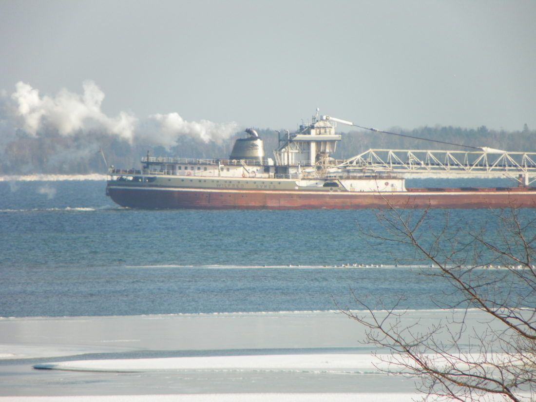 Courtesy photo Wilfred Sykes coming into port in Escanaba in the winter.