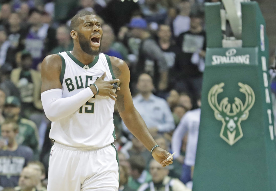 AP photo Milwaukee's Greg Monroe reacts to a call during the first half of Game 6 against Toronto in Milwaukee.
