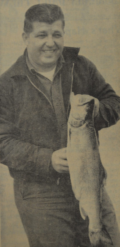 Daily Press photo Vernon Viau is shown with a splake or brook trout in this 1966 Daily Press photo. The fish extended 27-inches in length and weighed 6 1/2 pounds.