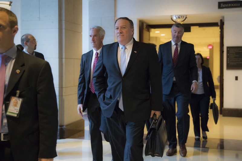 CIA Director Mike Pompeo departs the Capitol after briefing members of the House Intelligence Committee in the aftermath of President Donald Trump reportedly sharing classified information with two Russian diplomats during a meeting in the Oval Office, in Washington, Tuesday, May 16, 2017. (AP Photo/J. Scott Applewhite)