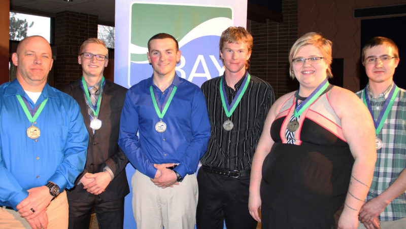 Courtesy photo Outstanding graduates for 2017, left, Joel Olson, James McNeil, Chad Newton, Hunter Dlugas, Sara Larson and Andrew Vandermissen at the Awards Dinner held on April 18 at Bay College.