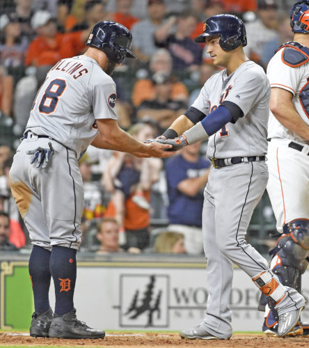 AP photo Detroit's Jose Iglesias, right, celebrates his two-run home run off Houston Astros relief pitcher Jordan Jankowski with Tyler Collins during the ninth inning Wednesday.