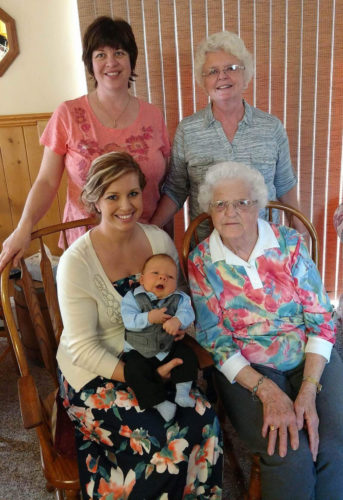 Courtesy photo Recently five generations got together. Pictured, back row, left, grandma Cherie Granquist, and great-grandma Carol Hudson, front row, left, Amber Liikala holding son, John David Liikala, and great-great-grandma May Carlson.