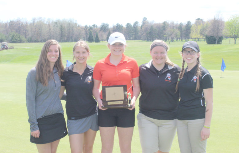 Courtesy photo The Escanaba girls golf team poses with its trophy after winning the Great Northern Conference Golf Meet Thursday at the Terrace Bluff Golf Course. Pictured left to right are: Sam Henderson, Megan Dagenais, Paxton Johnson, Darby Beckon, and Abby Knudsen.
