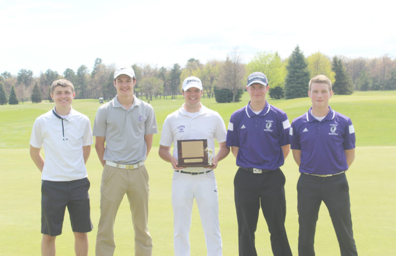 Courtesy photo The Gladstone boys golf team poses with its trophy after winning the Great Northern Conference Golf Meet Thursday at the Terrace Bluff Golf Course. Pictured from left to right: Rudy Peterson, Jared Ness, Bryce Douglas, Jordan Algren, and Andrew Pouliot.