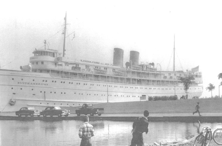 Photo courtesy of Don Sayklly In 1950, the South American cruise ship arrived in Escanaba from Chicago with 400 passengers at the Municipal Dock. Passengers were throwing pennies to the children on the pier.