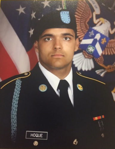 Courtesy photo Mohammed Hoque, son of Dorothy Hoque, completed his basic training at Fort Benning, Ga. with US Infantry D 2-58 on April 31. Hoque then completed Airborne School on May 19, and is currently in RASP Training in Fort Benning, Ga. He is a 2016 graduate of Escanaba High School.