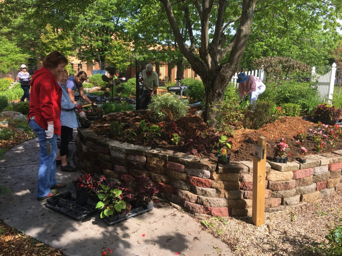 Courtesy photo Volunteers work a the OSF St. Francis Hospital Serenity Garden.