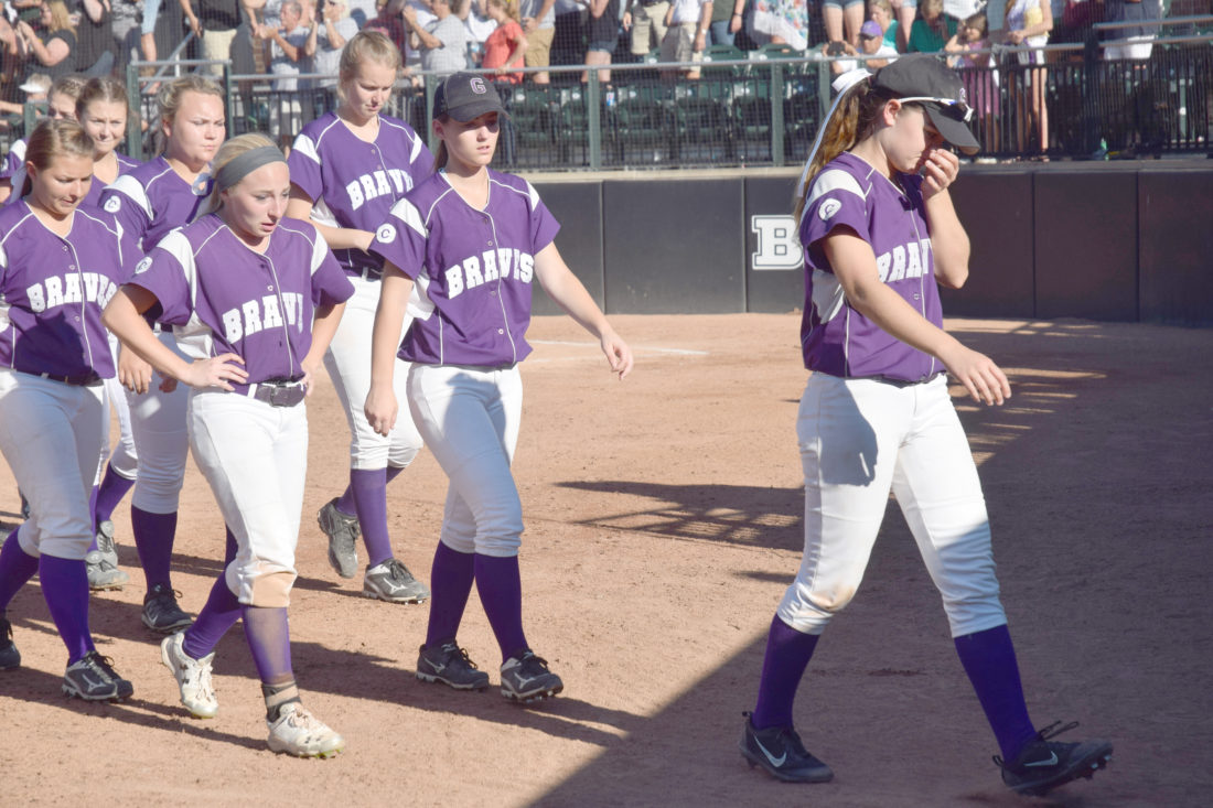 Mike Mattson | Daily Press The Gladstone softball team was feeling the sting after a 16-0 loss to Napoleon in Friday's Division 2 state semifinal game.