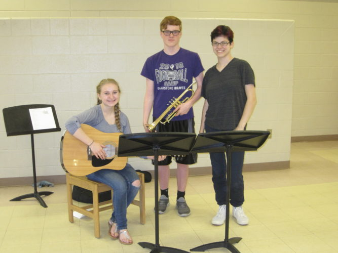 Courtesy photo Sydney Chouinard, Kyle and Holly VanBrocklin provided the music for the story hour.