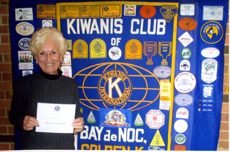 """Courtesy photo Cheri Severinson, director of the Delta County Cancer Alliance, was a guest speaker of the Golden """"K"""" Kiwanis Club speaking about the cancer alliance and its helpful contributions to cancer victims and their families in Delta County. Some Golden """"K"""" members had been helped by the alliance, giving them further incentive to raise some funds for the organization. The Golden """"K"""" Club donated $250 to the cancer alliance."""