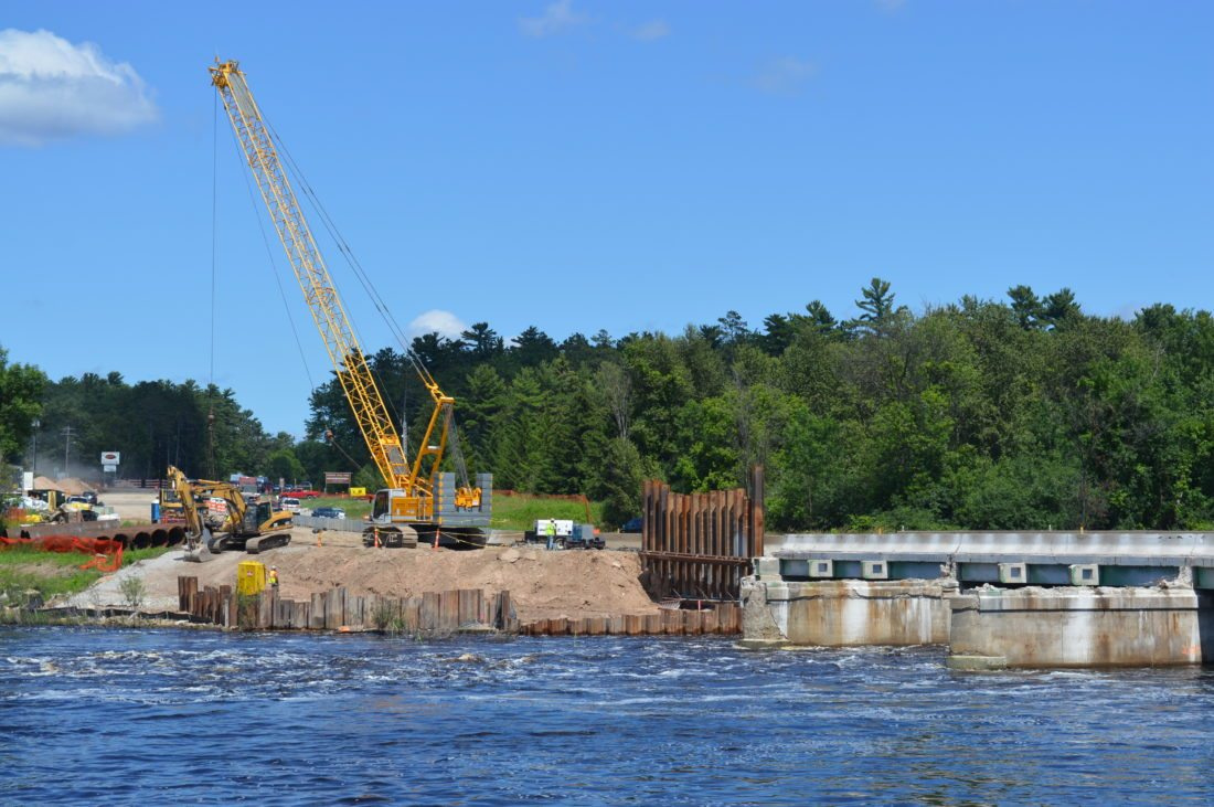Jordan Beck | Daily Press In this Daily Press file photo, work continues on the Michigan Department of Transportation's bridge replacement project.