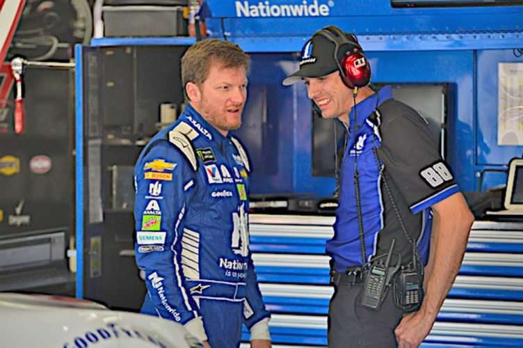 Courtesy photo Greg Ives, right, chats with Dale Earnhardt Jr. at a recent NASCAR race in Charlotte, N.C.