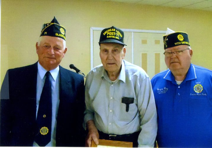 Courtesy photo Gladstone American Legion Post 71 presented an award to Charles Makosky for 70 continuous years of membership in the American Legion. Pictured, left, Dave Schram, post commander, Charles Makosky, and Wayne Roy, 11th district commander.