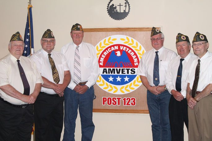 Courtesy photo Amvets Post 123, elected new officers on June 27.  Pictured left, Wally Godlewski, provost marshall; Mark List, first vice commander/finance officer; John Anderson, adjutant; Dean Warner, commander; Tony Caron, second vice commander; and O'Neill King.