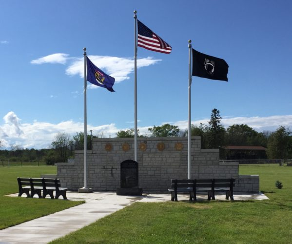 Courtesy Photo  The Nahma Vet Memorial is nearing completion in Nahma Township Park. A ceremony to dedicate the memorial, being built in honor of Nahma veteran Richard Morrison, will take place on Aug. 19 at 11 a.m. at the township park.