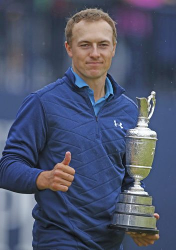 AP photo Jordan Spieth of the United States holds the trophy after winning the British Open Golf Championship Sunday.
