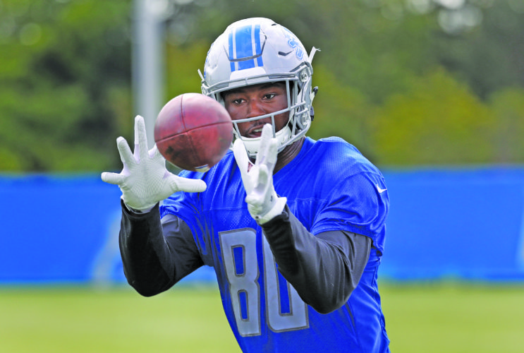 AP photo  Detroit tight end Michael Roberts, a fifth-round pick from Toledo shown catching a pass, fourth-year pro Darren Fells, a former Arizona Cardinal, and Cole Wick, who made Detroit's team as an undrafted free agent last year, seem to have the best chance to take advantage of extra snaps in practice. Eric Ebron is relegated to watching practice while recovering from a hamstring injury.