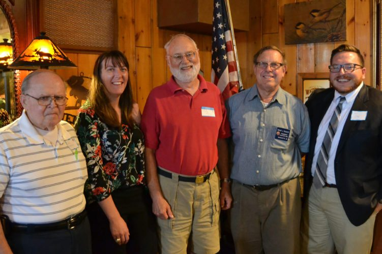 Courtesy photo The National Active and Retired Federal Employees Association (NARFE) Chapter 1900 held its annual members' pasty picnic on July 26 at the Crossroads Restaurant near Marquette. Attendees included (from left) Ken Andersen, Chapter 1900 second vice president; Elise Matz, regional manager for U.S. Sen. Gary Peters; Clyde Morgan, Chapter 1900 first vice president and treasurer and NARFE Michigan Federation Area 3 vice president; Dale Ollila, Chapter 1900 president; and Jay Gage, regional manager for U.S. Sen. Debbie Stabenow. Not pictured is Michigan State Representative Scott Dianda. Approximately 46 NARFE members and guests attended the event, including candidates for Michigan House District 109 and U.S House District 1. NARFE Chapter 1900 includes members from the Marquette, Escanaba, Rapid River, Houghton, Hancock and Ontonagon areas. The group's next regular meeting is at 1:30 p.m., Wednesday, Aug. 23, in Room B of the Marquette Senior Center, 300 W. Baraga.