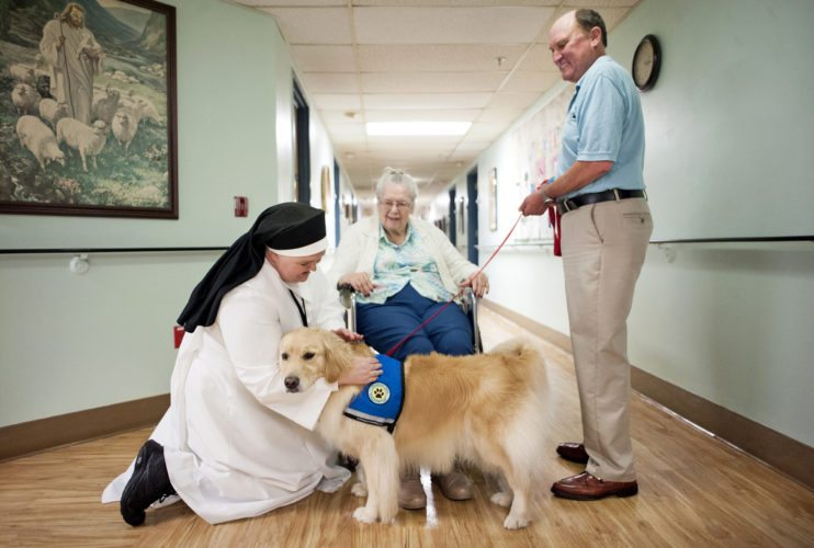 Angela Major/The Janesville Gazette via AP Bill Schendt, right, holds Miracle's leash while she greets Dorothy Ervs, center, in the hallway, Wednesday, July 19, at St. Elizabeth Nursing Home in Janesville, Wis.