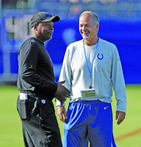 AP photo Detroit Lions head coach Jim Caldwell talks with Indianapolis Colts head coach Chuck Pagano during practice at the NFL team's football training camp Thursday in Indianapolis.