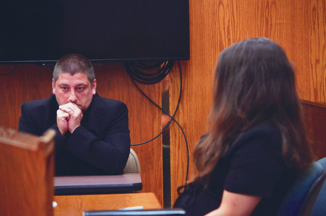 Ilsa Matthes | Daily Press Michael Lavoie and Tammy Fryer sit quietly in the Delta County Probate Courtroom as their parental rights are taken away Thursday. The couple has two daughters, one of whom was discovered naked in a snowy field near a swollen river last spring.