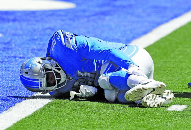 AP photo Detroit Lions defensive end Kerry Hyder lies on the field after being injured during the first half against the Indianapolis Colts Sunday. His status is unclear, but Coach Jim Caldwell said the team may know more in the next day or two.