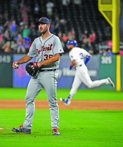 AP photo Detroit starting pitcher Justin Verlander (35) reacts after giving up a two-run home run to Texas left fielder Joey Gallo in the fourth inning Tuesday. Immediately after Gallo's home run, Verlander gave up another homer to Mike Napoli.