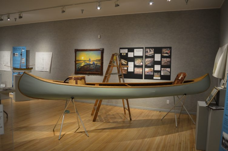 Haley Gustafson | Daily Press A wooden canoe featured in the Wooden Boats Afloat series at the Bonifas Arts Center.