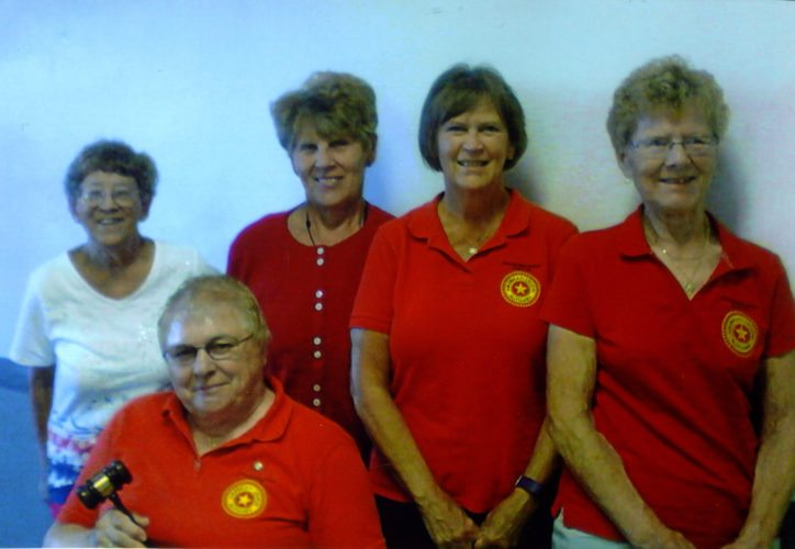 Courtesy photo The American Legion Auxiliary Escanaba River Post Unit 115 recently elected and installed officers for 2017-2018. Pictured are, from left in the back row, Sherri Ide, vice president; Linda Bruce, secretary; Mary Thompson, treasurer; and Maxine Maki, chaplain. Seated in front is June Pearson, president. Not pictured is Inez Mattson, sergeant-at-arms.