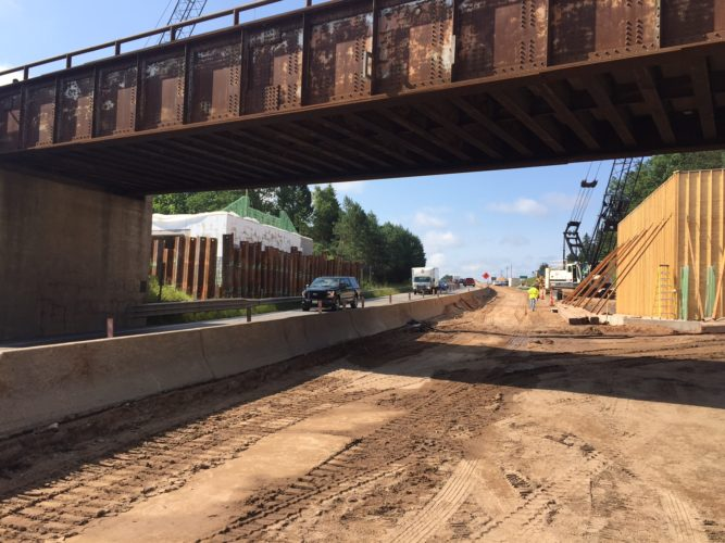 Courtesy photo In a photo provided by the Michigan Department of Transportation, work continues on the E&LS Railroad bridge over U.S. 2 and 41. MDOT is planning to close U.S. 2 and 41 to eastbound and westbound traffic at the Escanaba River from 9 p.m. on Sept. 5 to 6 a.m. on Sept. 8.